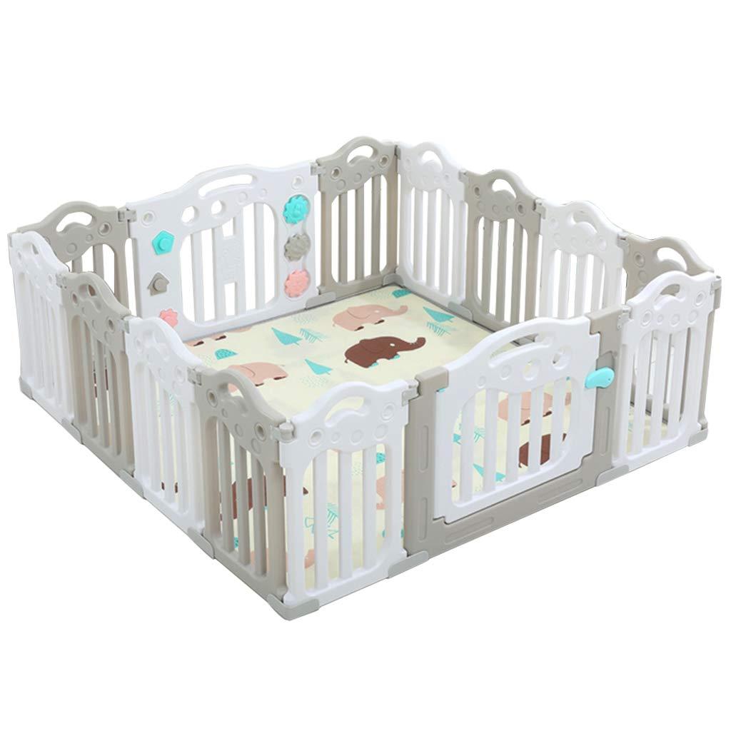 赤ちゃんのケア 遊びます マット ベビーサークル 幼児フェンス 14の多彩なパネルを使って、 女の子男の子子供クロール にとって プレイルーム保育園 屋内屋外   B07RKK16NP