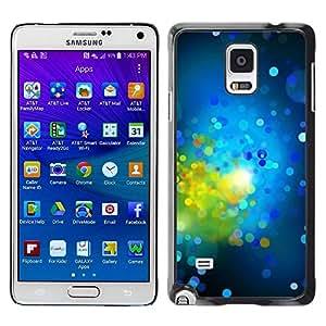 FECELL CITY // Duro Aluminio Pegatina PC Caso decorativo Funda Carcasa de Protección para Samsung Galaxy Note 4 SM-N910 // Green Bright Dots Spots Abstract