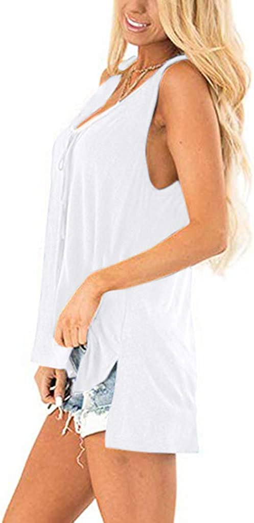 Teresamoon Womens V Neck Tank Tops Sleeveless Side Split High Low Hem Casual Shirts Tunics