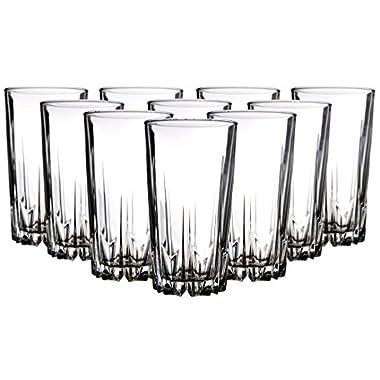 Palais Glassware 'Diamant' Collection; High Quality Diamond Cut Glass Set (Set of 10 - 12 oz. Highball)