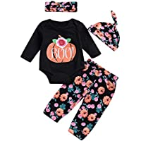 Newborn Baby Halloween Set Floral Romper + Long Pants + Headband + Hat 4pcs