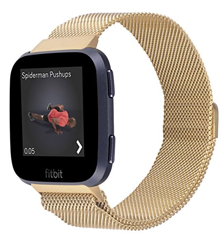 JSGJMY Fitbit Versa Bands Men Women Large Size Milanese Loop Stainless Steel Metal Magnetic Replacement Bracelet Strap for Fitbit Versa Fitness Smart Watch (Gold)