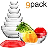 WERTIOO 9 Pcs Glsss Mixing Bowls Stackable Bowl Set with 7 pcs Llid for kitcken