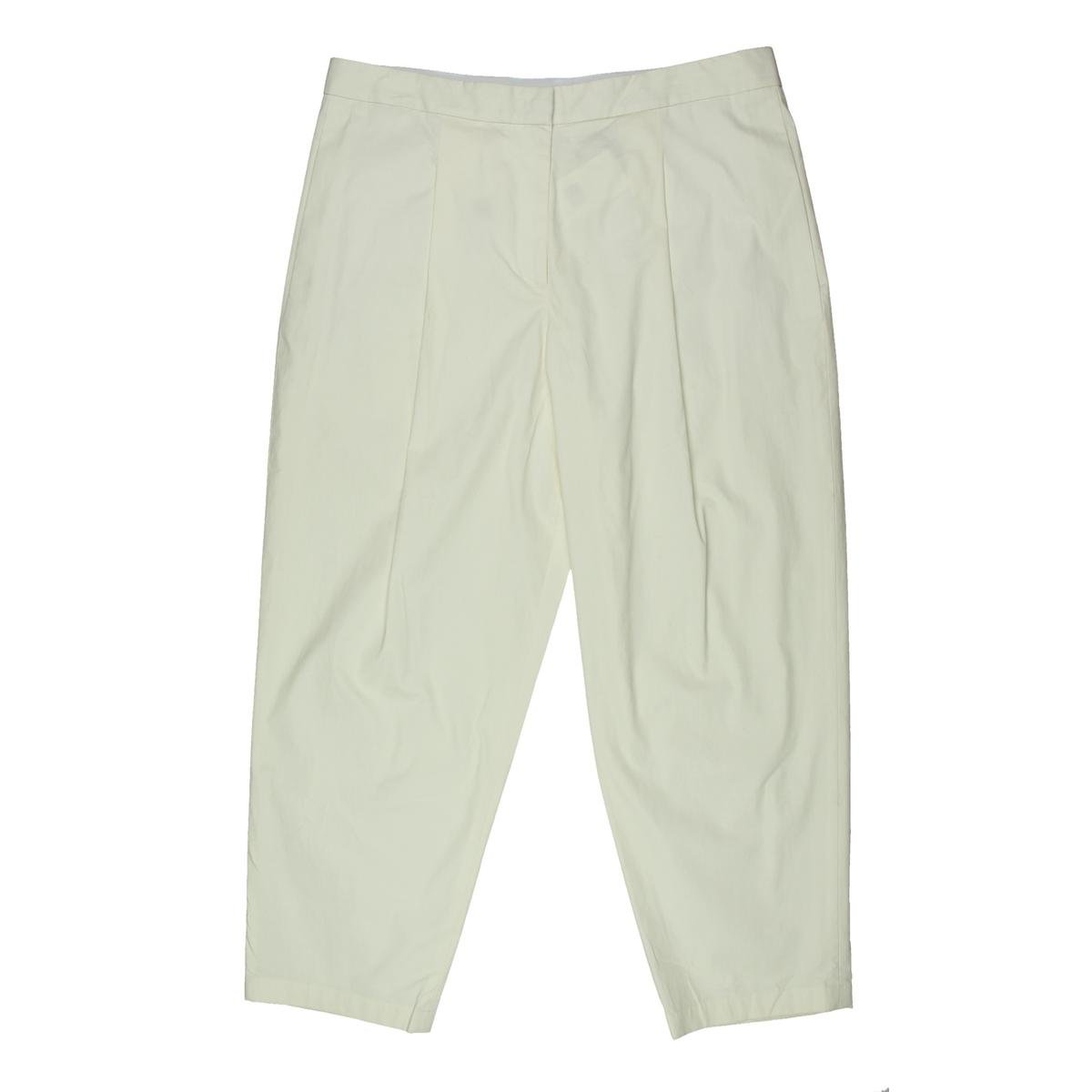 DKNY Womens Cotton Pleated Cropped Pants Ivory 6