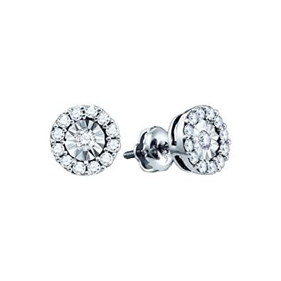 f171f5a82 Image Unavailable. Image not available for. Color: 10kt White Gold Womens  Round Diamond Illusion-set Solitaire Stud Earrings 1/4 Cttw