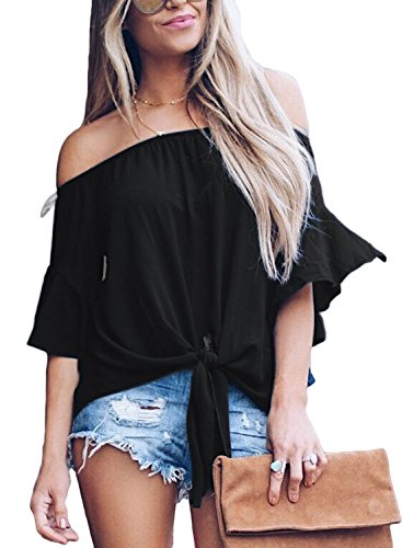 MAYBEYES Women's Solid Bell Sleeve Off Shoulder Blouse Tops Front Tie Knot Shirt (Black,m)