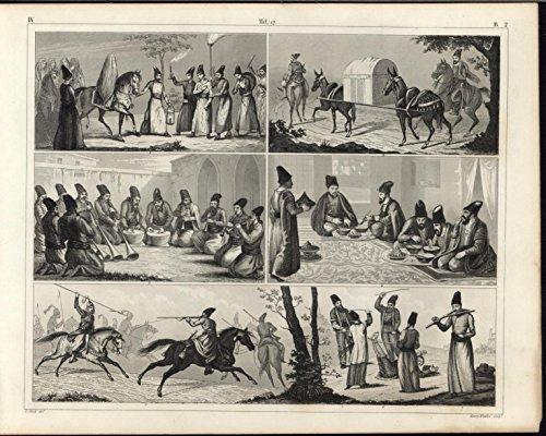 Antique Islamic (Turks Fighting Horseback Whipping Prisoner Muslims c.1855 antique engraved print)