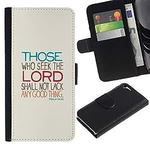 iKiki Tech / Cartera Funda Carcasa - Lord Seek Motivational Religious Meaning - Apple iPhone 5 / 5S