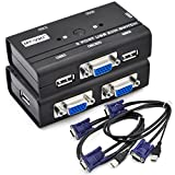 iKKEGOL 2 Port USB 2.0 Manual KVM Switch Selector Box with 2 sets of VGA Original Cable 1920x1440