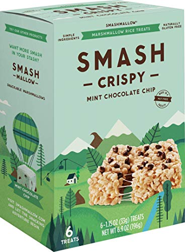 Mint Chocolate Chip Crispy by SMASHMALLOW | Marshmallow Rice Treats | Non-GMO | Organic Cane Sugar | Gluten-free (Pack of 6)