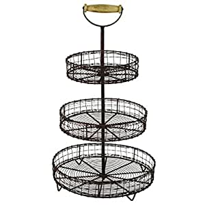 Antique Style Metal Wire 3 Tier Rack Display Stand Basket Rustic Farmhouse Decor