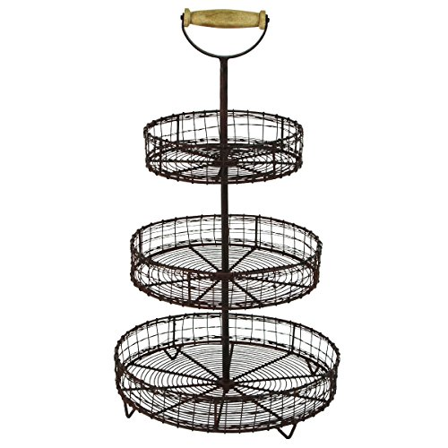 (YRHD,INC Antique Style Metal Wire 3 Tier Rack Display Stand Basket Rustic Farmhouse Decor)
