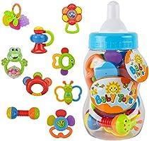 Wishtime Bébés Hochets Jouets d'éveil Tambourin Instruments de Musique Jouet Musical 9 Pièces de hochets Idéal Cadeaux pour Les Bébés (Couleur Aléatoire)