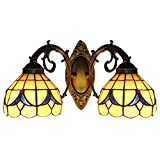 BAYCHEER HL404198 Tiffany Wall Sconce lamp Stained Glass Wall Sconces Lighting for Bedroom Hallway Stairway Balcony Cloakroom 2 Lights