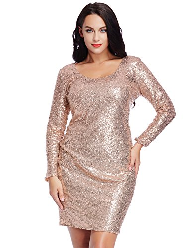 Grapent-Womens-Plus-Size-Sequin-Cocktail-Sheath-Short-Dress-Bodycon-Long-Sleeve