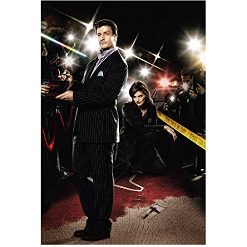 Castle (TV Series 2009 - 2016) 8 inch x 10 inch PHOTOGRAPH Nathan Fillion & Stana Katic Crime Scene Tape & Flash Bulbs kn