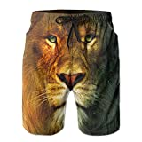 Tvsuh-u Cool Lion Mens Beach Short Board Shorts Quick-Drying Swim Surf Trunks