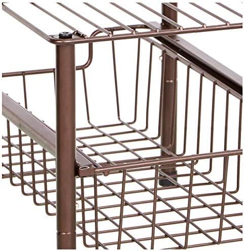 AmazonBasics – Organizador con cesta deslizante apilable, Cromado: Amazon.es: Hogar
