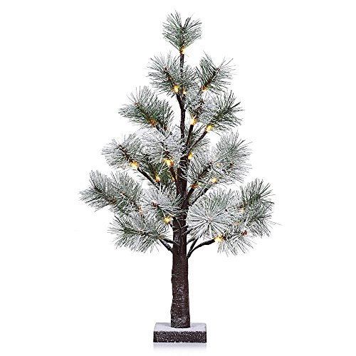 LightMe 32 LED 1.97 Feet Artificial Snow Christmas Pine Needle Tree Decorative Light for Indoor Christmas New Year Holiday Decor (Trees Pine Christmas)