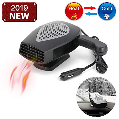 12V Portable Car Heater or Fan - Cooling Car Space & Fast Heating Defrost Defogger Space Automobile Windscreen Fan, Heat Cooling Fan Ceramic 3-Outlet Plug in Cigarette Lighter (Black)