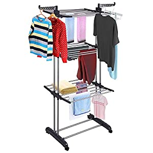 MWK 3Tier Stainless Laundry Organizer Folding Drying Rack Clothes Dryer Hanger Stand