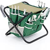SONGMICS 8 Piece Garden Tool Set Includes Garden Tote Folding Stool and 6 Hand Tools w Heavy Duty Cast-Aluminum Heads Ergonomic Handles UGGS40L