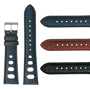 DASSARI 22mm Vintage 70's Heuer Style Leather Rally Strap Quick Release Watch Band in Blue