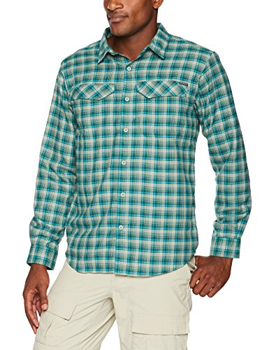 Columbia Men's Standard Silver Ridge Flannel Long Sleeve Shirt, Glacier Green Small Plaid, Large