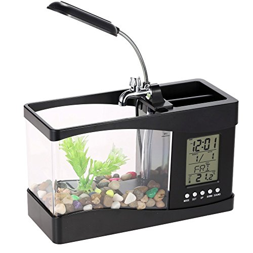 - Docooler USB Desktop Mini Fish/small fry Tank Aquarium with LED Clock