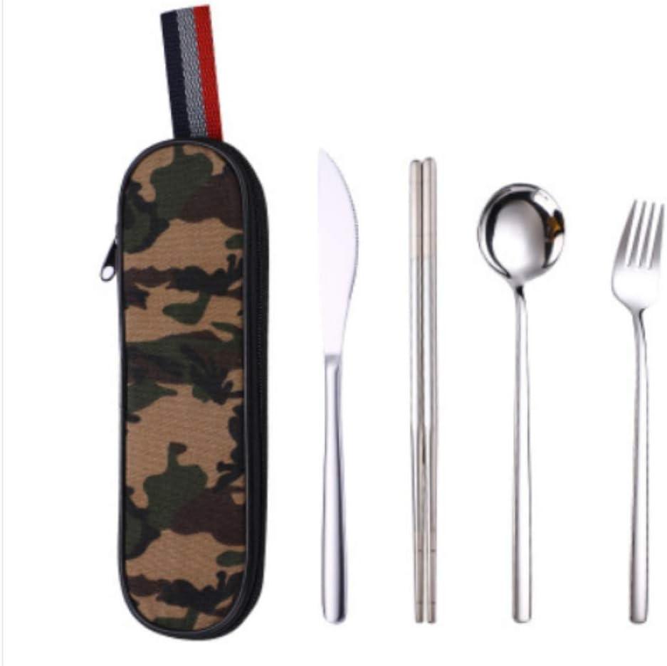 Juego de vajilla Juego de cubiertos de viaje Vajilla para camping Juego de vajilla reutilizable con cuchara tenedor, palillos, paja y estuche portátil: Amazon.es: Hogar