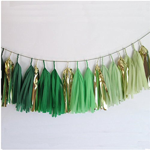 DIY Tissue Paper Tassels Party Decoration Supplies Sets 15 PCS Tassel Garland Banner for Birthday Party Bridal Shower Wedding Gold Garland Bunting Pom Pom (GM-gold and green)