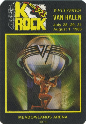 Backstage Pass Van - Van Halen 1986 5150 Radio Promo Backstage Pass