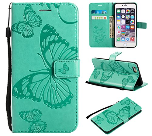 - Gostyle Flip Wallet Case for iPhone 6 Plus,iPhone 6S Plus Slim Premium PU Leather Case with Credit Card Holder, 3D Embossed Butterfly Pattern with Kickstand Magnetic Closure Money Pouch Cover,Green