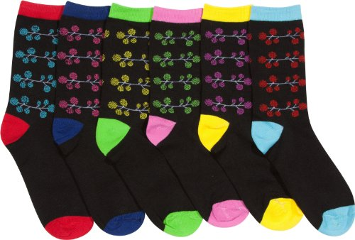 758419da7 Sakkas 840323 Women s Fun Colorful Design Poly Blend Crew Socks Assorted 6- Pack - Berries 9-11 (B00B0MW0BY)