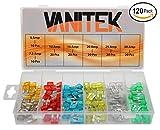 Vanitek 120-Pc Car Truck Boat Fuse Assortment Kit - 5, 7.5, 10, 15, 20, 25, 30 AMP – Mini Small ATM/APM Blade Fuses