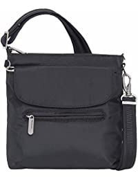 Anti-Theft Classic Mini Shoulder Bag (One Size, BLACK w/CORAL LINING)