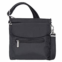 Travelon Anti-theft Classic Mini Shoulder Bag (One Size, Black W Paisley Lining)