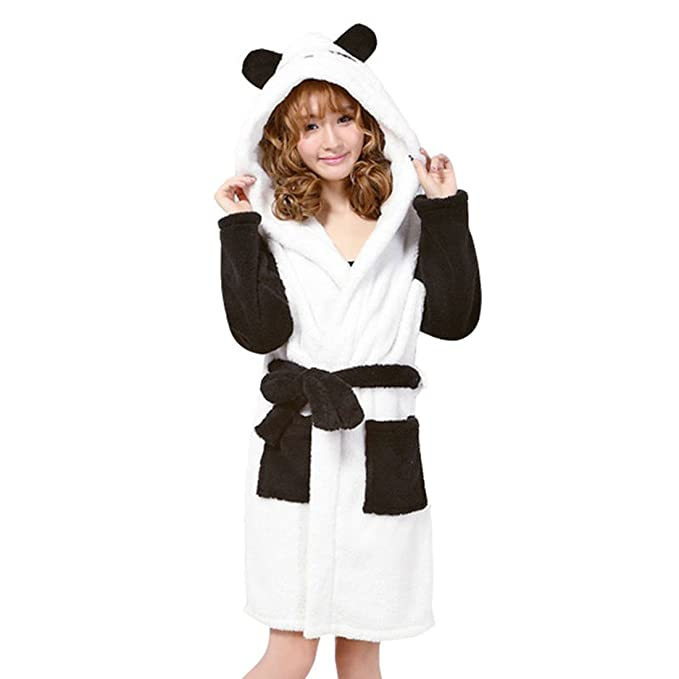 Hzcx Fashion Women s Cartoon Fleece Bathrobe with Hood Lovely Juniors Girl  Sleepwear 2016100412-30- c1fe3b988