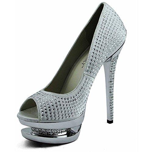 Trend Star Women Pumps Womens High Heels Platform Lace Party Pfennig new pumps Stil 1 - Elfenbein