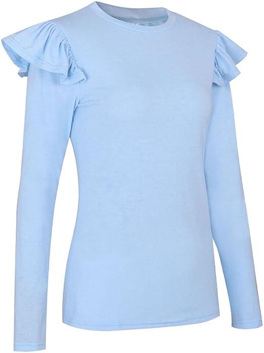 NiSeng Mujer Camiseta Mango Largo Blusa Cuello Redondo ...