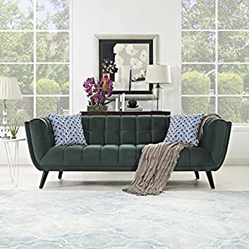 Modway Bestow Upholstered Velvet Fabric Button-Tufted Sofa In Green