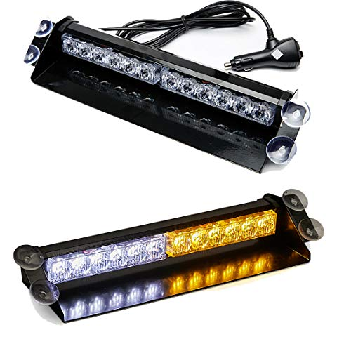 SmallFatW 12 LED 7 Flash Patterns High Intensity Emergency Law Enforcement Vehicles Truck Warning Strobe Visor Light Mini Bar Fit for Interior Roof/Dash/ Windshield with Suction Cups - Warning Dash Lights