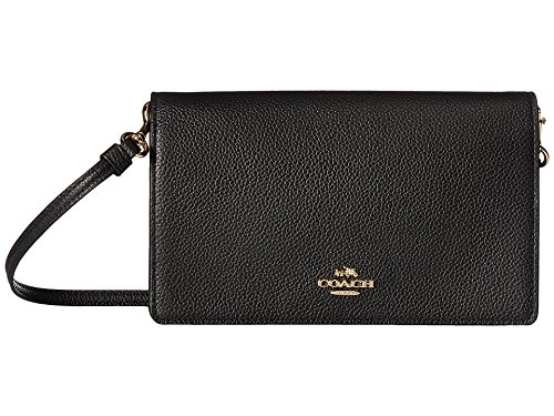 COACH Women's Polished Pebbled Leather Fold-Over Crossbody Li/Black Crossbody Bag by Coach