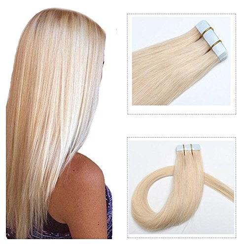 Mario Hair Tape In Human Hair Extensions Silky - Blonde Human Hair Extensions 60
