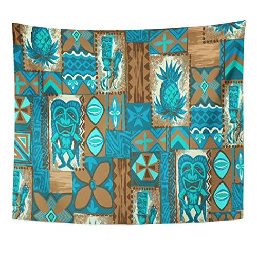 Semtomn Tapestry Artwork Wall Hanging Hawaii Tiki Hawaiian Vintage Tapa Primitive Tropical Pineapple Tribal 50x60 Inches Home Decor Tapestries Mattress Tablecloth Curtain Print
