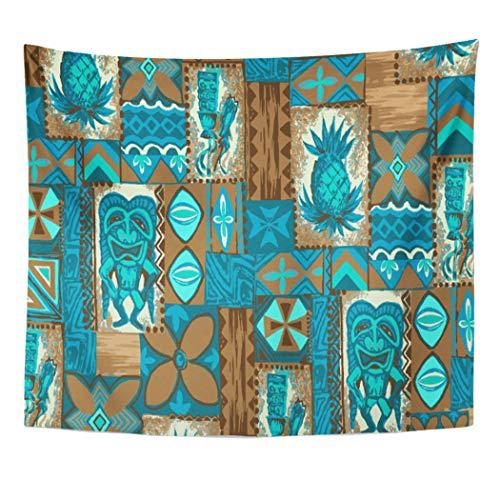 Semtomn Tapestry Artwork Wall Hanging Hawaii Tiki Hawaiian