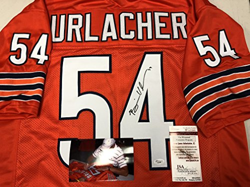 Brian Urlacher Autographed Signed Chicago Bears Orange Custom Jersey JSA Witnessed COA & Hologram W/Photo From Signing - Brian Urlacher Autographed Jersey