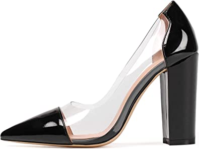 Chunky Heel Pumps Pointed Toe