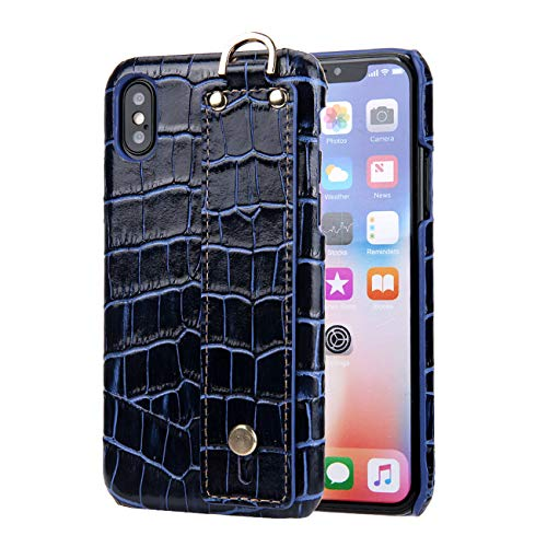 iPhone Xs MAX Case, OuYang Hand-Made Genuine Leather Luxury 3D Crocodile Pattern Slim Fit Heavy Duty [Drop Protection] [Anti-Scratch] with Wristband Hard Protective Case for iPhone Xs MAX 6.5'',Blue