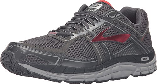 Brooks Men's Addiction 12 Anthracite/High Risk Red/Silver Sneaker 11 4E - Extra Wide